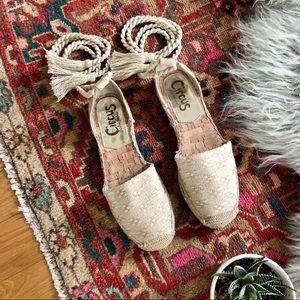 Sam Edelman Lenora woven lace tie espadrilles